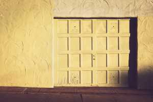 white wooden garage door